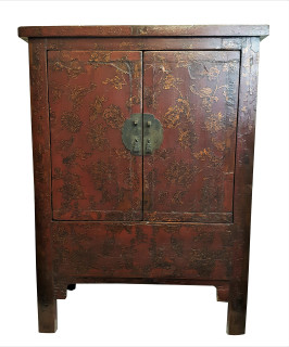 Genial Chinese Elm Wood Butterfly Chest