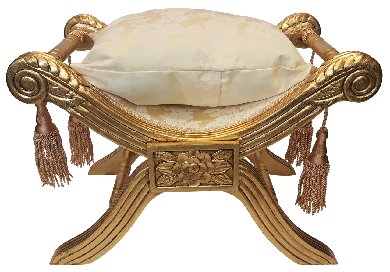 f8a8b25d28b58 Gold Stool Chair Carved Floral with Cushion