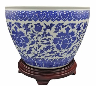 "Blue Floral Chinese Planter 16"" Diameter  White Porcelain"