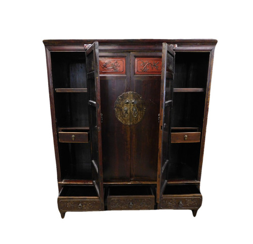 """Hand Carved Antique Chinese Elmwood Cabinet 60"""" Wide"""