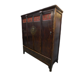 "Hand Carved Cabinet 60"" Wide in Antique Chinese Elmwood"
