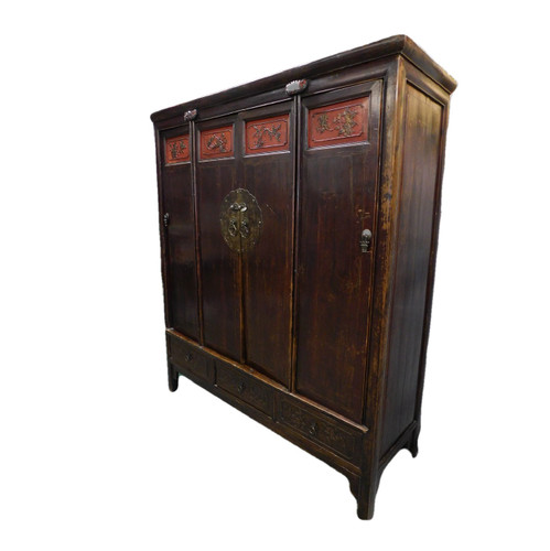 """Hand Carved Cabinet 60"""" Wide in Antique Chinese Elmwood"""