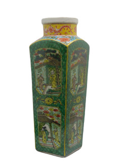 "Chinese Porcelain Square Jade Green 18"" H. Vase"