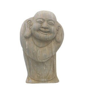 "Smiling Stone Buddha Garden Statue 16"" H."