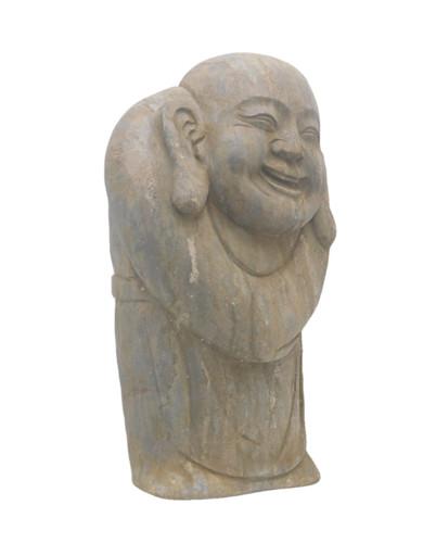"16"" H. Smiling Stone Buddha Garden Statue"