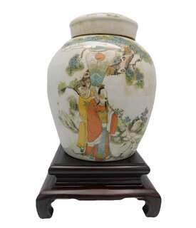 Radish Jar in Chinese Antique Porcelain with Wise Men and Storks