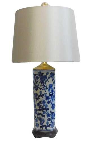"""Chinese blue and white porcelain lamp Porcelain table lamp 24"""" high"""