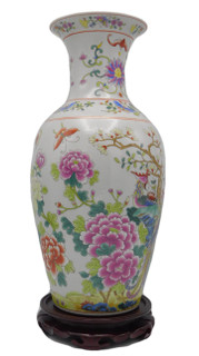 Fish tail vase, white background, colorful, yellow and fuchsia flowers, colorful peacock