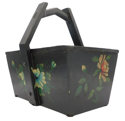 "Antique reproduction Chinese box, Black wooden box 14.25"" x 10.6"" x 13.5"" High. Comes with fitted wooden Black Cover."