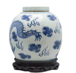Antique reproduction, Ginger jar with dragon,  clouds and flames