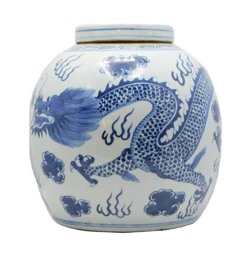 Lidded Porcelain Ginger jar, front side, Blue and white glazed,antique reproduction