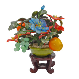 Jade Tree Carved Stone Fruits Flowers 10""