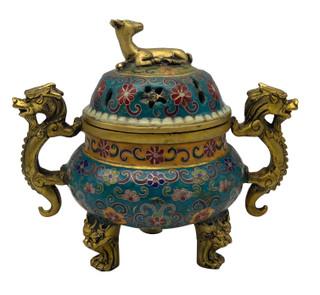 Oriental Incense Burner Floral Pot with Dragon