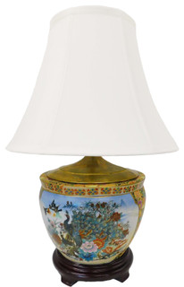 Peacock decorated porcelain lamp