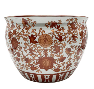 Oriental Fish Bowl Red Coral Pattern