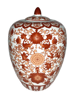 "Chinese Red Coral Porcelain Jar 11""H"