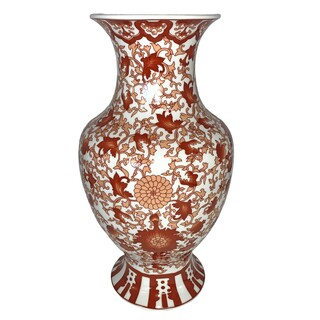 Oriental Fishtail Vase with Red Twisted Lotus Flower