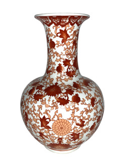 Chinese Ball Vase with Red Coral Pattern