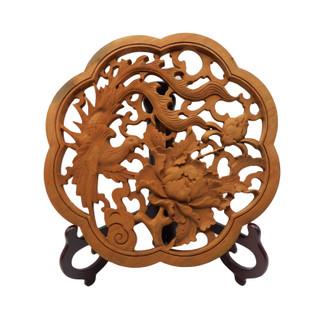 Oriental Camphor Art Carving Bird and Flower