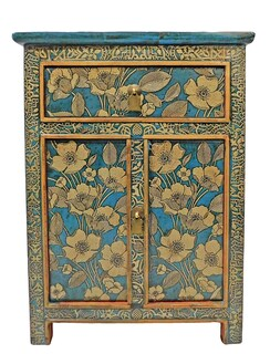 Tibetan Cabinet Hand Painted in Silver Floral Motif