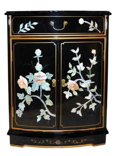 Oriental Cabinet Mother Of Pearl Inlaid Flowers Design