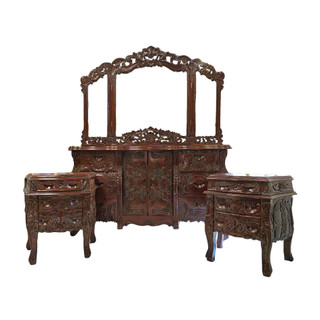 Baroque Hand Carved Dresser and End Table Set