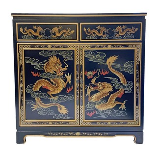 Unique Oriental Cabinet Black Lacquer Hand Painted Dragon and Clouds