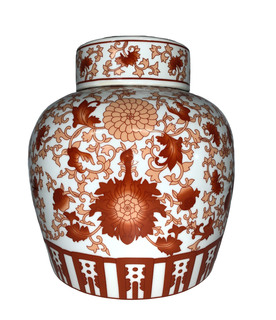 "Chinese Red Coral Porcelain Jar 10""H"