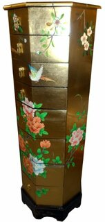 Asian Gold Leaf Lacquer Painted Pedestal With Drawers