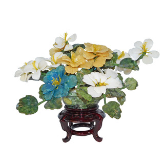 Oriental Stone Carved Flower Bouquet