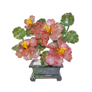 Oriental Stone Carved Four Flower Tree