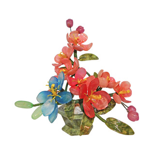 Oriental Jade Grape and Flower Basket Tree