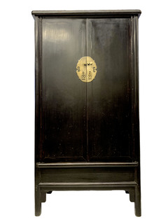 Oriental Antique Cabinet In Satin Black