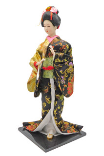Japanese Geisha Doll with Yellow and Black Kimono