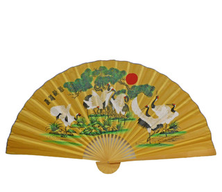 Oriental Fan Hand Painted With Birds