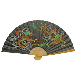 Oriental Fan Hand Painted With Dragons