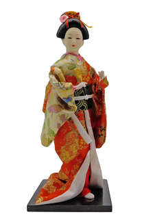 Japanese Geisha Doll with Yellow and Orange Kimono
