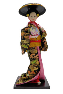 Japanese Geisha Doll with Fan and Round Sun Hat