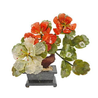 Colorful Oriental Jade Flower with Transparent Petal