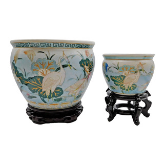 Oriental Carved Porcelain Fishbowl with Landscape and Birds