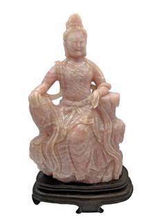 Large Chinese Rose Quartz  Kwan Yin Carving