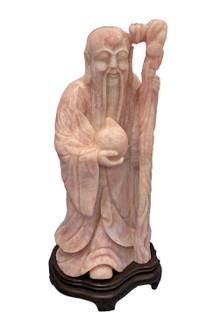 Large Rose Quartz Oriental Shou Lao Statue