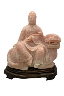 Rose Quartz Statue Kwan-Yin Sitting On Fu Foo Dog
