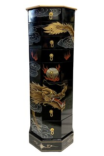 Asian Black Lacquer Dragon Painted Pedestal With Drawers