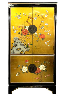 Oriental Cabinet in Gold Leaf hand painted Bird and Floral