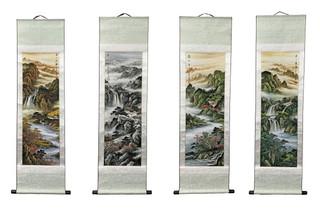 Oriental Four Seasons Silk Scroll