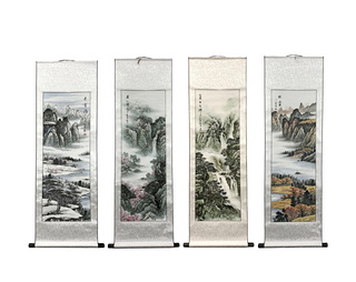 Oriental Four Seasons Silk Scroll