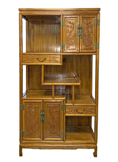 Asian Bookcase with Dragon Carving