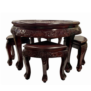 Oriental Carved Coffee Table With Four Stools