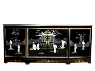 "72"" Chinese Black Lacquer Buffet with Mother of Pearl Lady Design"